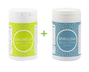 Zestaw Spirulina tabletki 1000szt.  + Chlorella tabletki 1000szt. KruKam